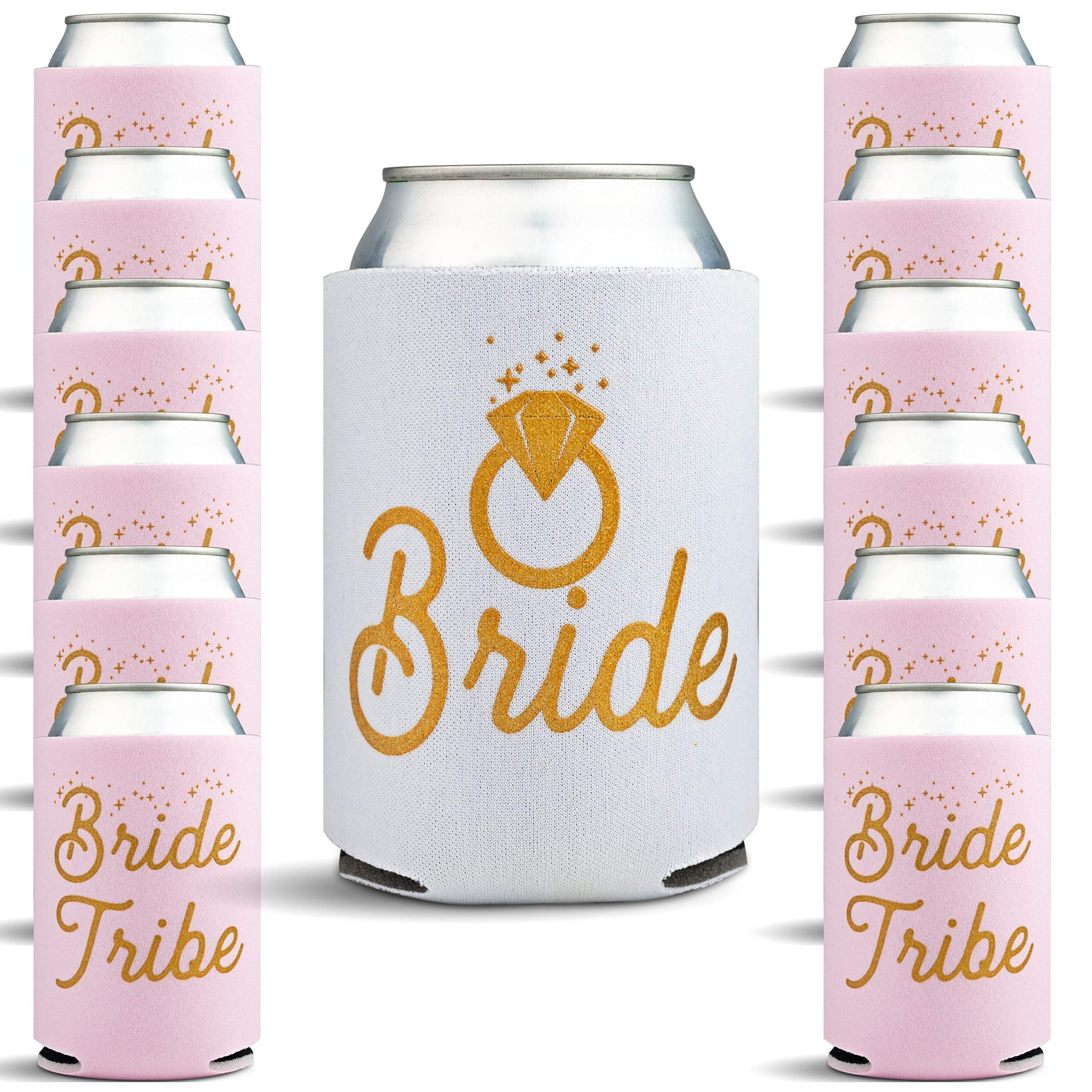 Bachelorette Party Favors - 13 Pack Bridal Shower Decor Can Coolers with Bonus Game - Bachelorette Gifts for Bride, 13 Beer Can Insulated Sleeves Bachelorette Party Supplies, White, Pink with Gold by Gold Coastal