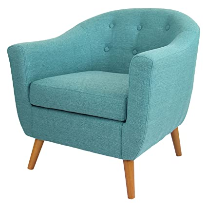 Amazon.com: ModHaus Mid Century Modern Style Teal Button Tufted Upholstered Tub  Accent Armchair With Wood Legs Includes Living (TM) Pen: Kitchen U0026 Dining