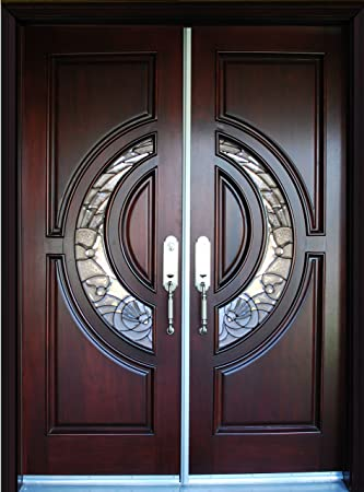 Exterior Doulbe Front Entry Mahagany Wood Door, M580E DBL 30\