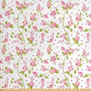 Ambesonne Shabby Flora Fabric by The Yard, Nature Blossoms Buds Flowers Lavenders Florals Leaves Ivy Artwork, Decorative Fabric for Upholstery and Home Accents, 1 Yard, White Green
