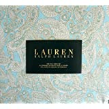 Lauren Ralph Lauren 4 Piece Full Sheet Set Cotton White and Olive Green Paisley Pattern on
