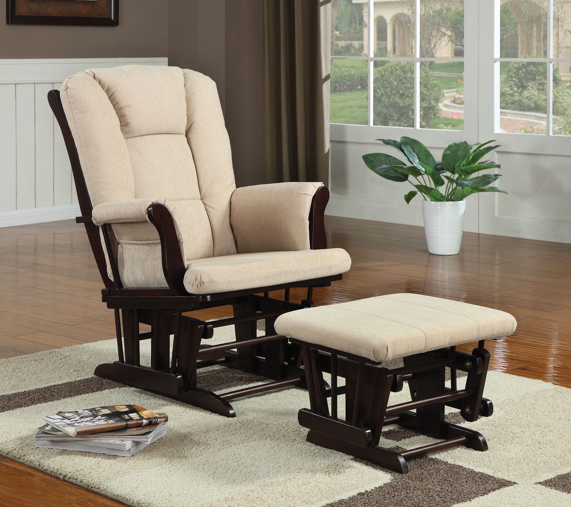 Glider with Ottoman in Cherry Finish by Coaster Home Furnishings