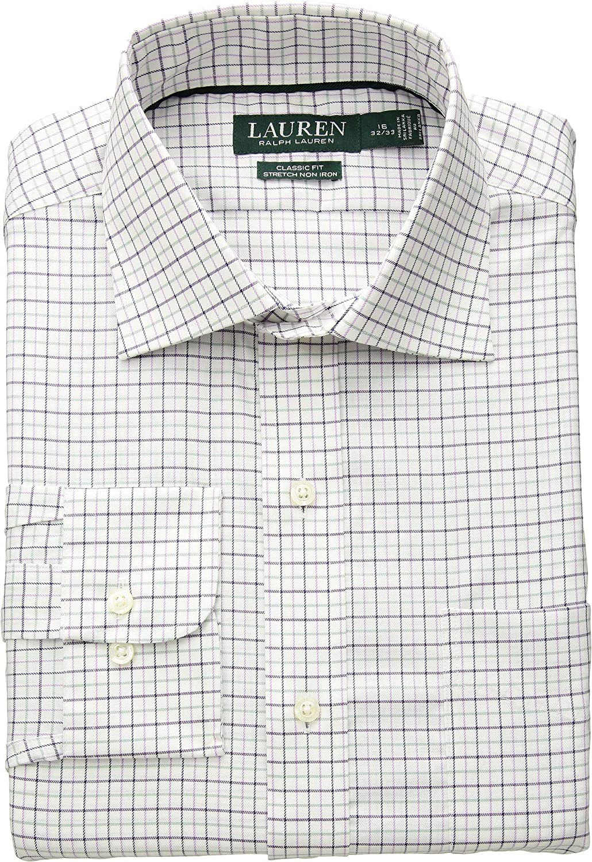 2ecd1439d73 Lauren Ralph Lauren Mens Classic Fit Non Iron Stretch Twill Dress Shirt at  Amazon Men s Clothing store