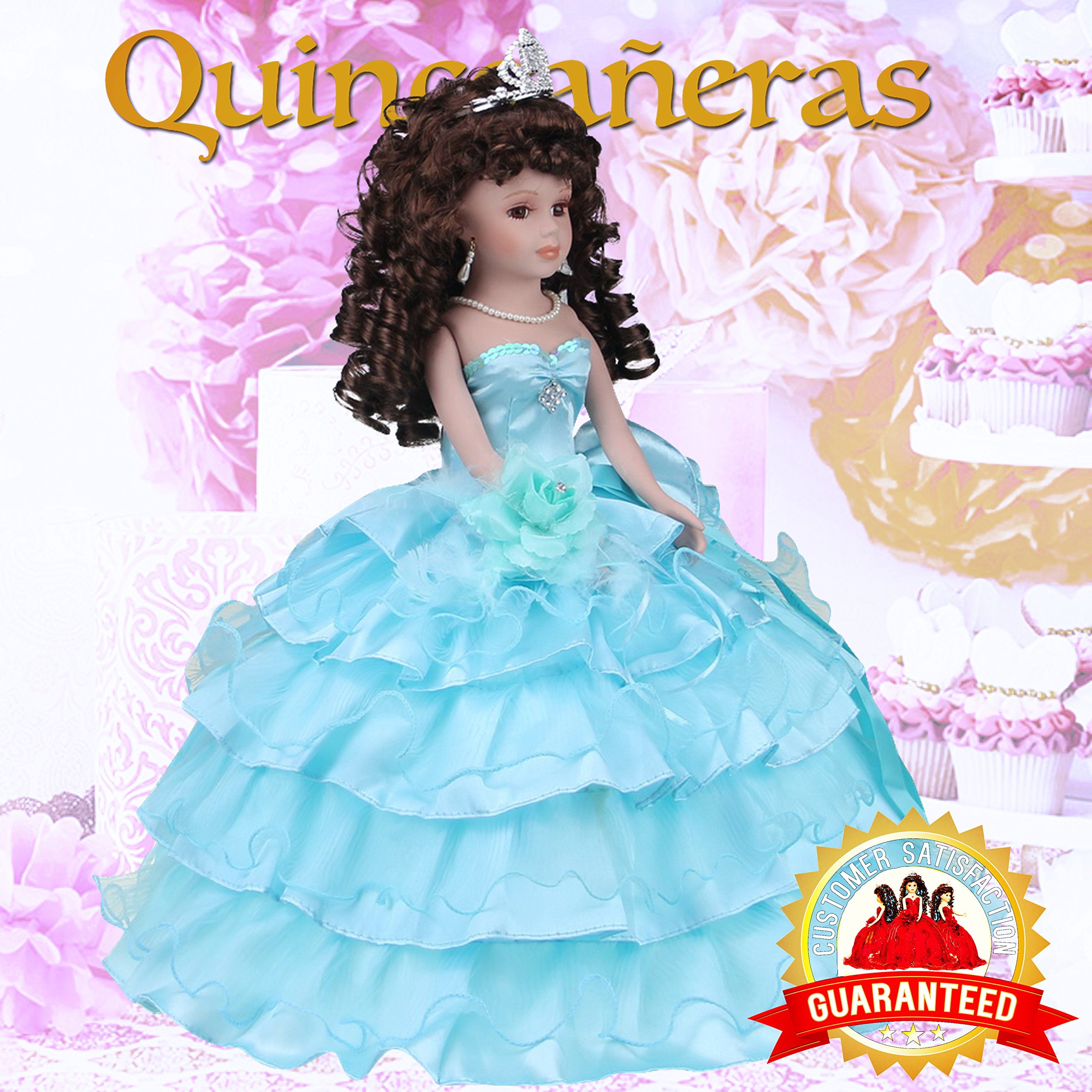Kinnex Collections by Amanda 18'' Porcelain Quinceanera Umbrella Doll (Table Centerpiece)~ Aqua ~ KK18729-23