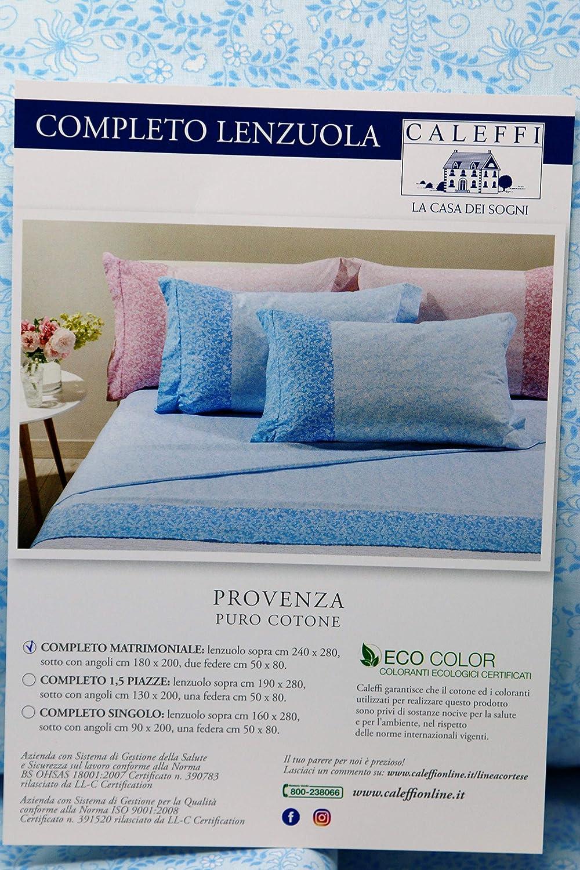 Azzurro 008 Caleffi Completo Lenzuola Letto Singolo Art Provenza in Puro Cotone