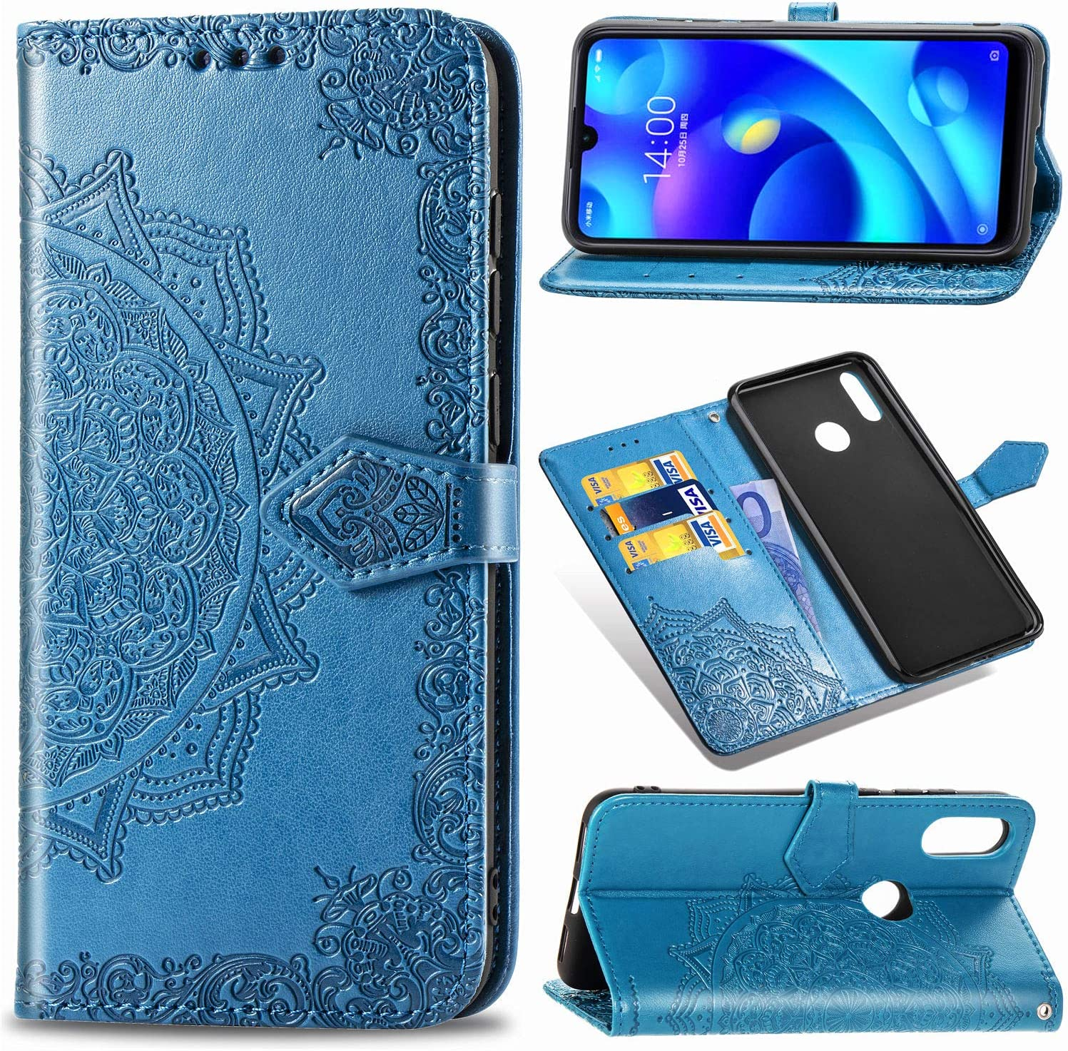 Funda para Xiaomi Mi Play, Carcasa Libro con Tapa Flip Case Antigolpes Golpes Cartera PU Cuero Suave Soporte con Correa Cordel - Mandala Azul