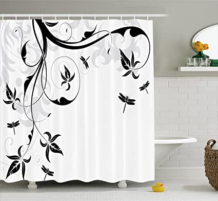 Ambesonne Dragonfly Shower Curtain Swirled Floral Background With Damask Curl Branches And Leaves Print