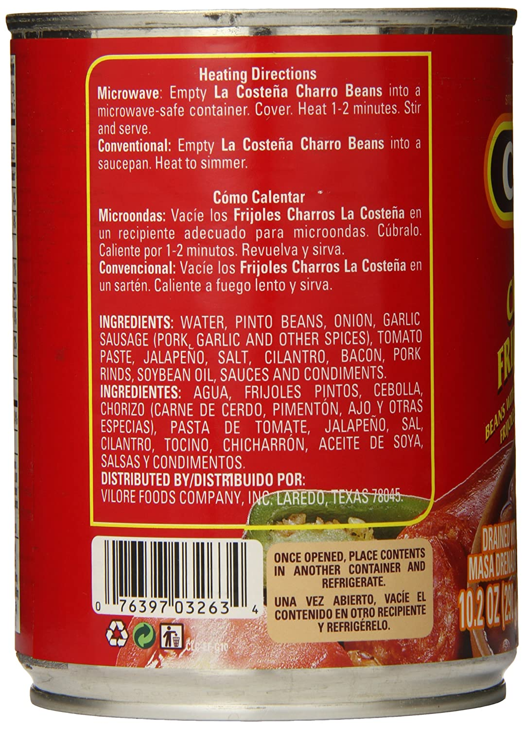 La Costena Whole Charro Beans, 19.75 Ounce (Pack of 12): Amazon.com: Grocery & Gourmet Food