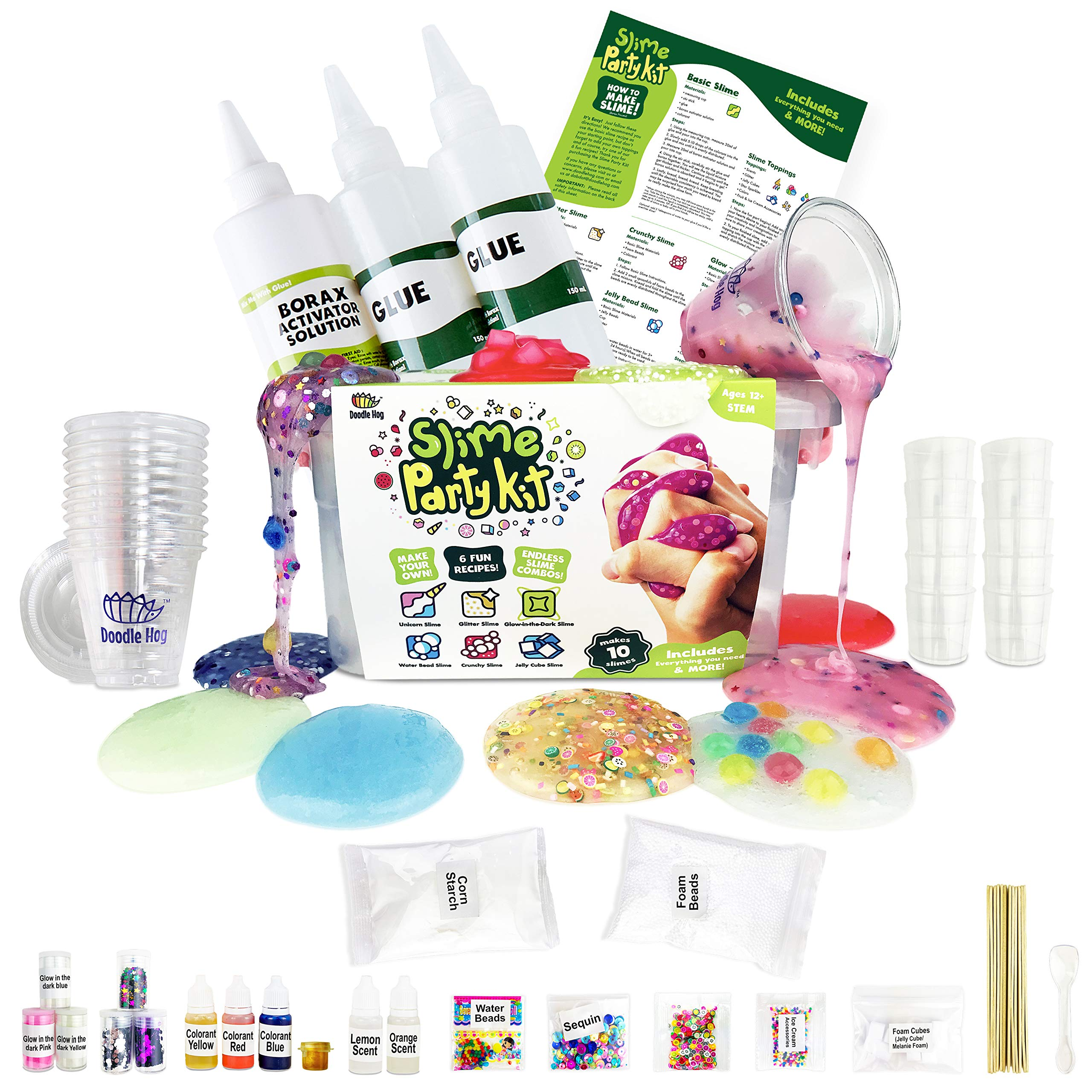 Incredible DIY Slime Party Kit for Girls and Boys (100+ Pieces). All You Need to Make 10 Colorful Slimes. Includes 6 Fun Slime Recipes Plus Cool Toppings for Endless Slime Combos! by Dab and Dot Markers