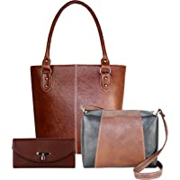 Fargo Fine Line PU Leather Women's Handbag With Sling Bag And Clutch Combo Of 3 (Tan_FGO-148)