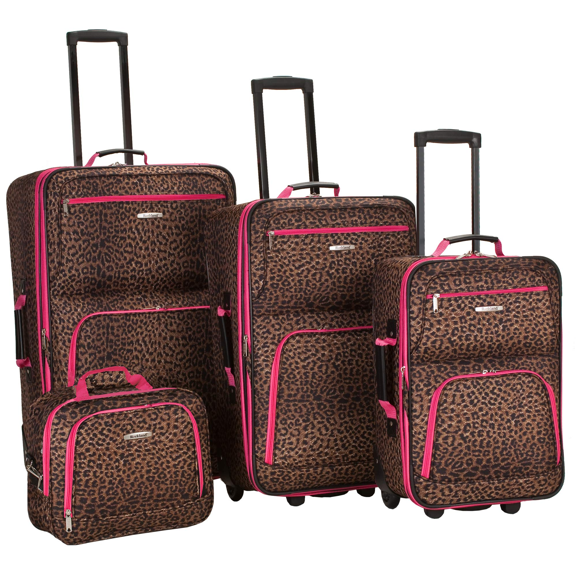 Rockland Luggage 4 Piece Luggage Set, Pink Leopard, Medium by Rockland