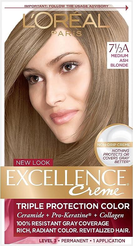 LOréal Paris (public) Excellence Crème 7 1/2A Rubio - coloración del cabello (Rubio, 7 1/2A, Medium Ash, PRE-COLOR SERUM AQUA/WATER/EAU, CETEARYL ...