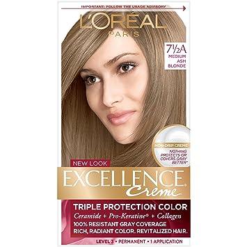 L Oreal Paris Excellence Creme Permanent Hair Color 7 5a Medium Ash Blonde 1 Kit 100 Gray