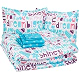 AmazonBasics Easy Care Super Soft Microfiber Kid's Bed-in-a-Bag Bedding Set - Full / Queen, Multi-Color Dream Big