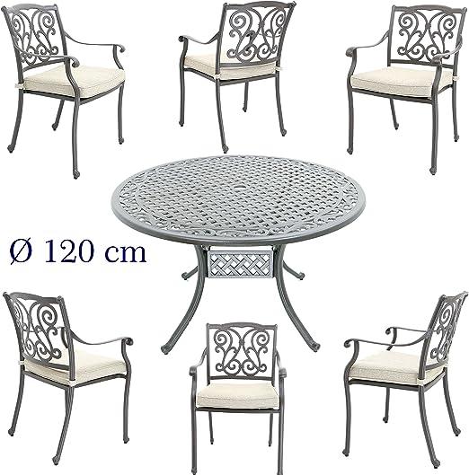 Hanseatisches Im- & Export Contor GmbH Juego de Muebles de jardín, jardín Muebles de jardín Mesa de edredón de Aluminio Fundido, diámetro 120 cm con jardín 6 sillas: Amazon.es: Jardín