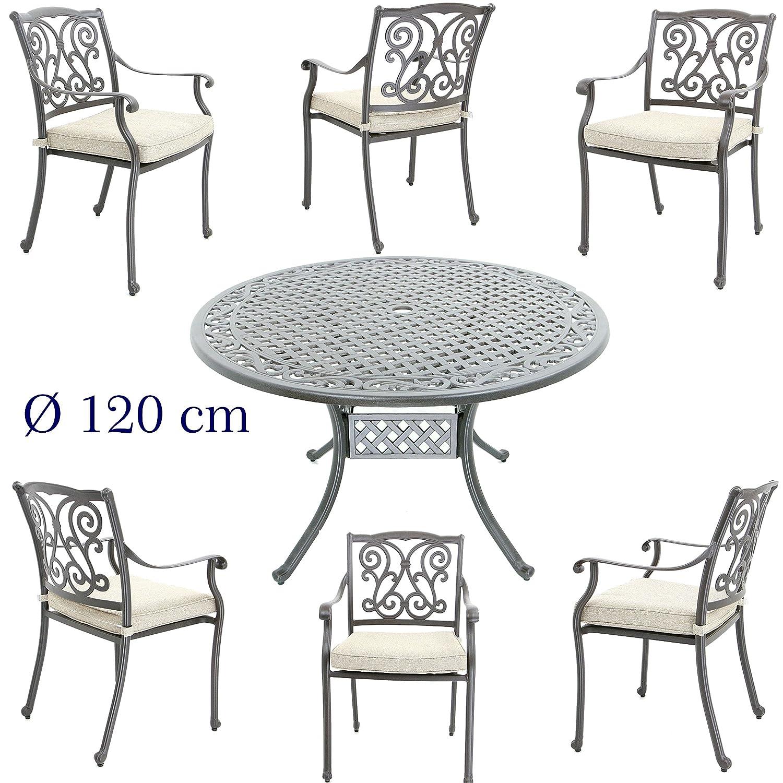 Hanseatisches Im- & Export Contor GmbH Aluguss Gartenmöbel Set, Gartenmöbelgarnitur bestehend aus Gartentisch Ø 120 cm und (6 Gartenstühle)