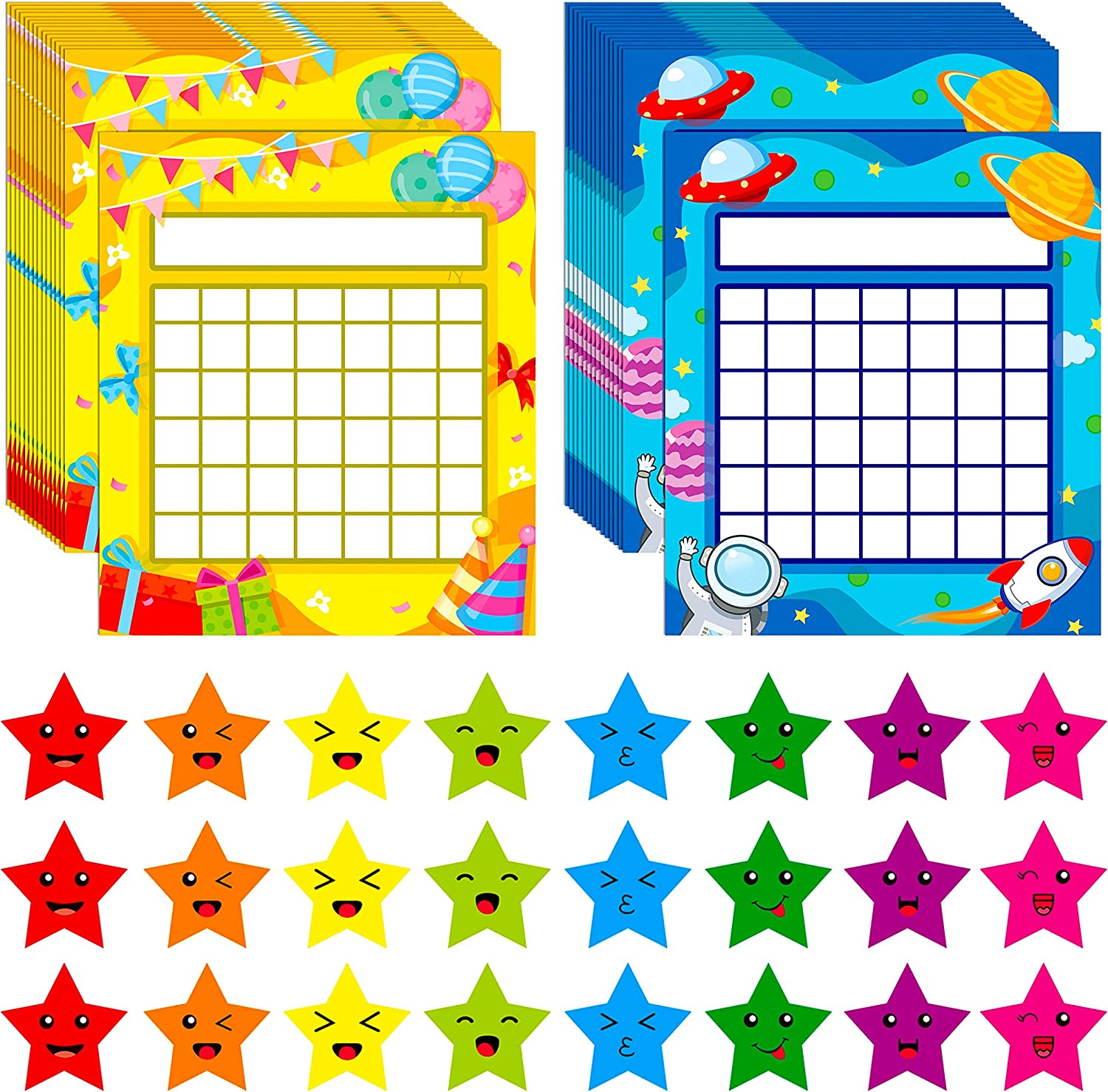 Amazon Com 66 Pack Classroom Incentive Chart In 2 Designs With 2024 Star Stickers Office Products
