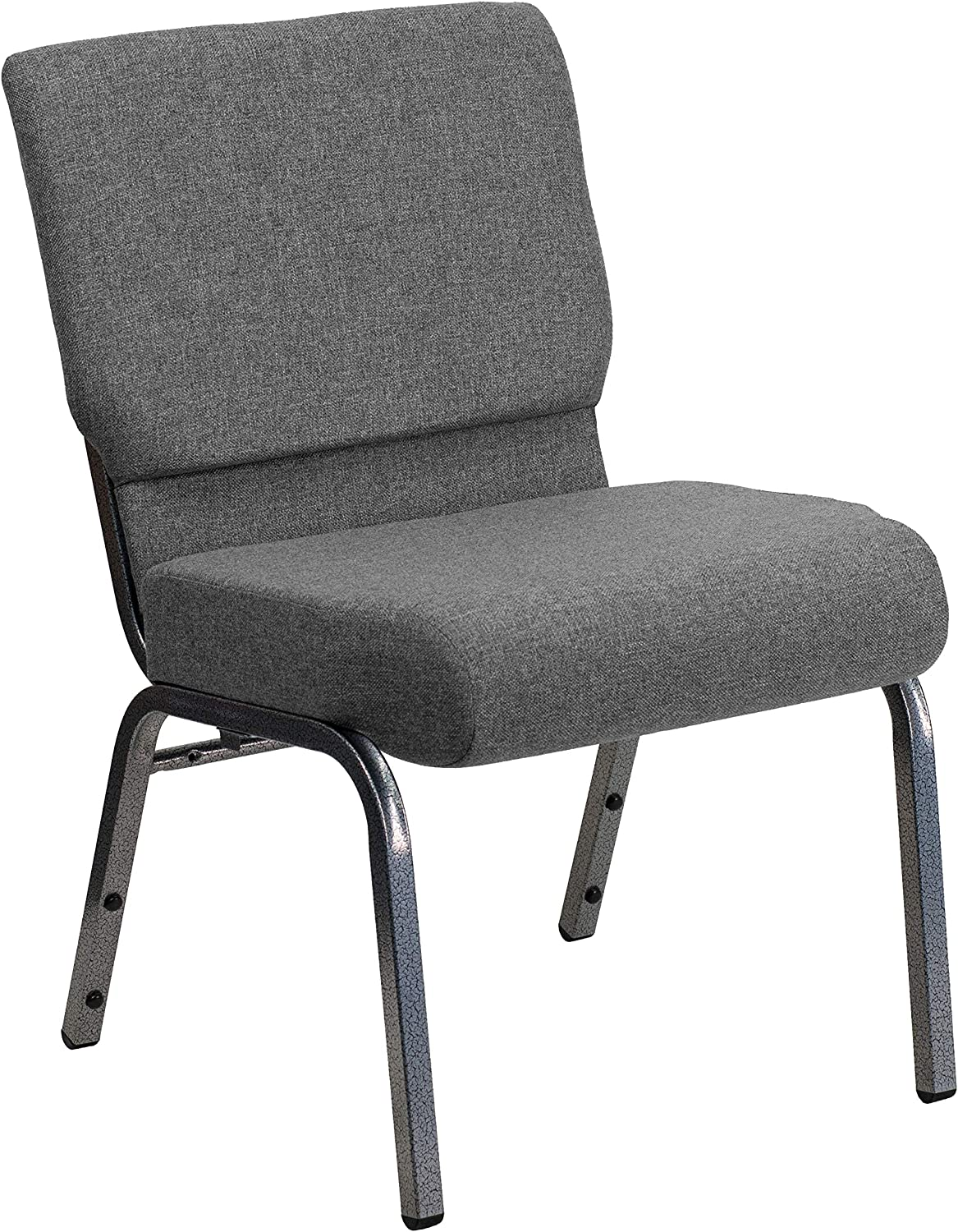Flash Furniture HERCULES Series 21''W Stacking Church Chair in Gray Fabric - Silver Vein Frame