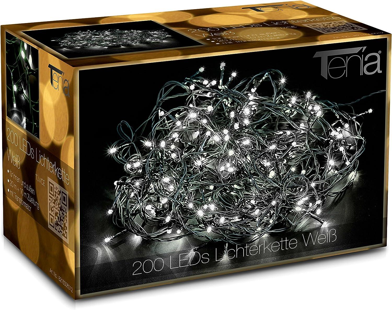 Tenia 200 LED Lichterkette Warmweiss 20M Multifunktional 8 Funktion Innen//Au/ßen Weihnachten