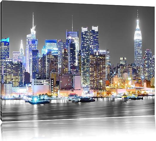 Manhattan new york city nuit skyline panoramique toile wall art imprimé photo