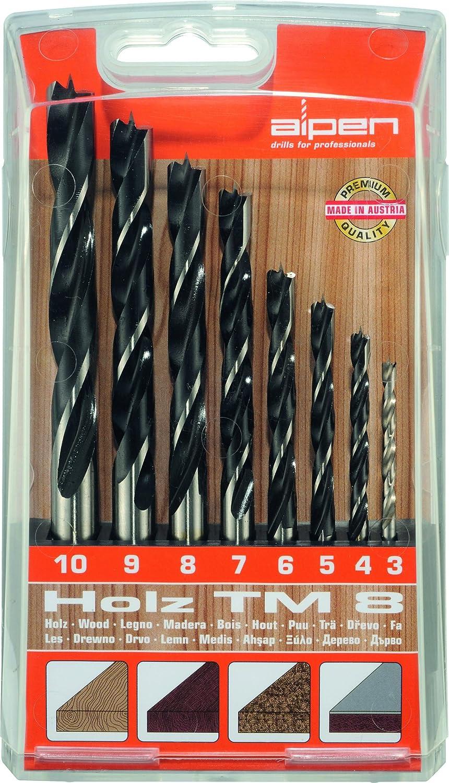Bohrer / Holzbohrer Set TM 8, 8-tlg. | CV / HSS Maschinenbohrer sind hitzebeständig bis 250°C, die Spiralbohrer sind geeignet zum Bohren von Weich- und Harthölzern, punktgenau | Ø  3 – 10 mm alpen 600092100