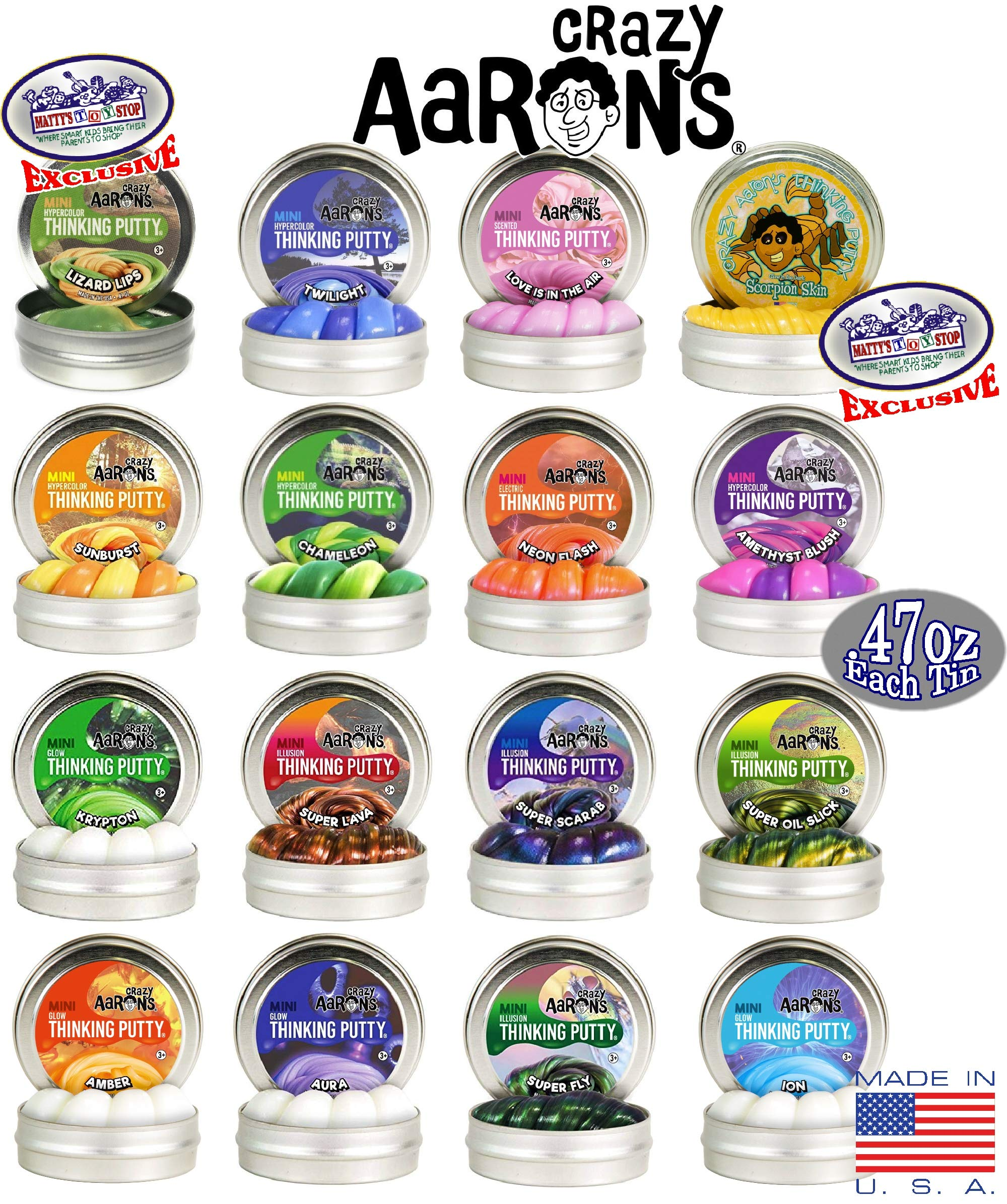 Crazy Aaron's Thinking Putty Mini Tins Complete Gift Set Bundle Featuring Hypercolor, Glow in The Dark, Super Illusion, Electric Color, Scented, Exclusive Lizard Lips & Scorpion Skin - 16 Pack by Crazy Aaron's