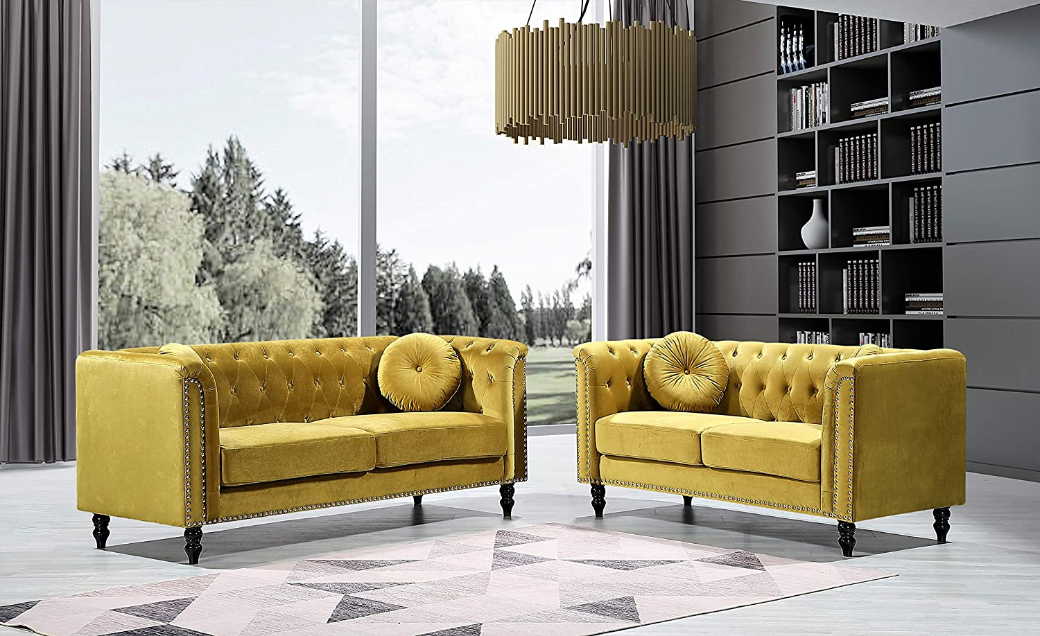 Container Furniture Direct Kittleson Mid Century Velvet Upholstered Nailhead Chesterfield Sofa Set, 2 Piece, Strong Yellow