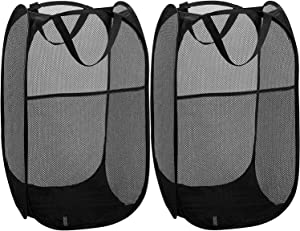 TCHH-DayUp Mesh Popup Laundry Hamper Portable, Durable Handles, Foldable, Collapsible for Storage Side Pocket|Enlarged Opening, 2-Pack Black