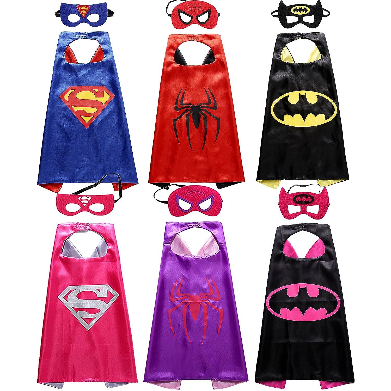 Sholin Comics Cartoon Superhero Satin Capes Dress up Costumes 6 Pack with Felt Masks