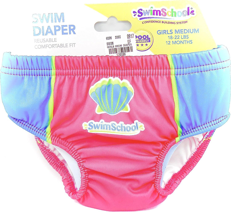 Swim Diaper,Reusable,Snug Fit,Blue//Pink,Swim School,Girls