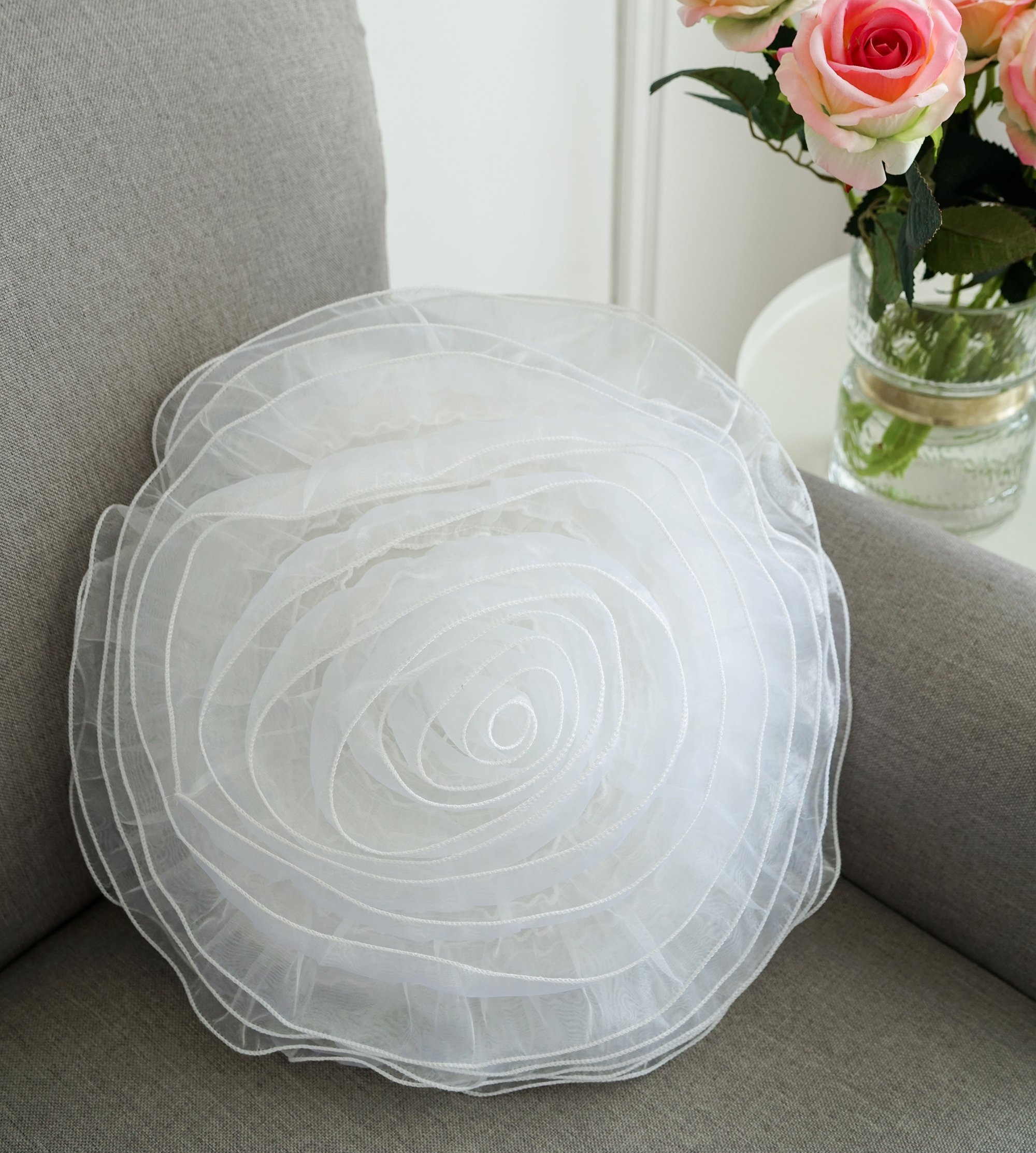 Lucia 3D flower Girls Throw Pillow 14'' round Decorative Cushion White Color Deco Cushion
