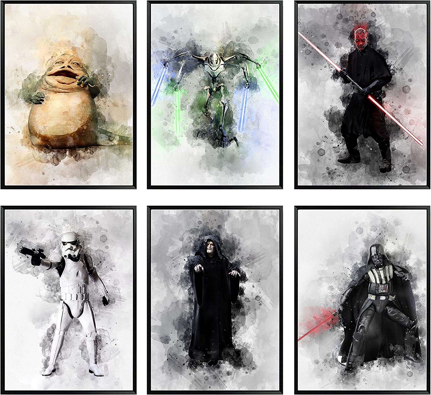 Star Wars Posters for Walls Villains – Unframed Set of 6 Characters, 8x10 Inch, Darth Vader Darth Maul Darth Siddious Storm Trooper General Grievous Jabba the Hutt Villain Pictures, Watercolor Wall Art for Boys, Teens Bedroom Living Bathroom Decor