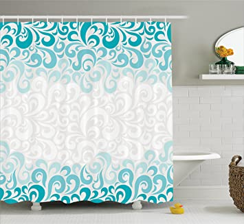 dark teal shower curtain. Turquoise Decor Shower Curtain by Ambesonne  Abstract Floral Flowers Pattern Ornamental Artistic Design Print Amazon com