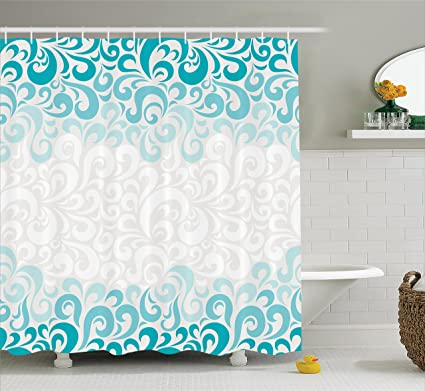 Ambesonne Turquoise Shower Curtain Set Abstract Paisley Floral Flowers Pattern Waterdrops Design Aquatic Art Illustration