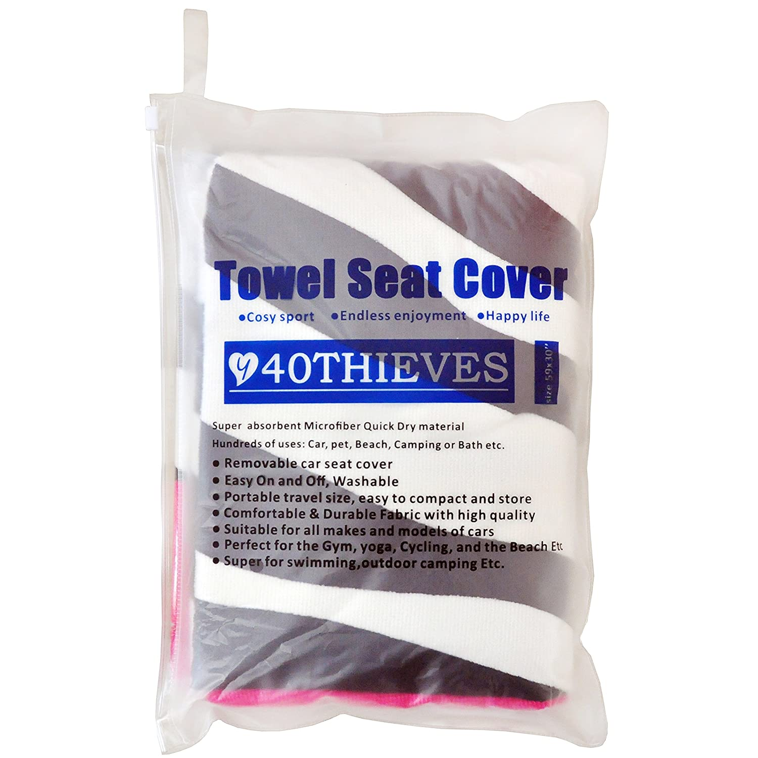 Runs Y 40 THIEVES Removable Sweat Towel Protect Front Bucket Seat Free for Cars Truck SUV After Gym Swimming Yoga Biking Star Stripe Surfing /& Beach Trips