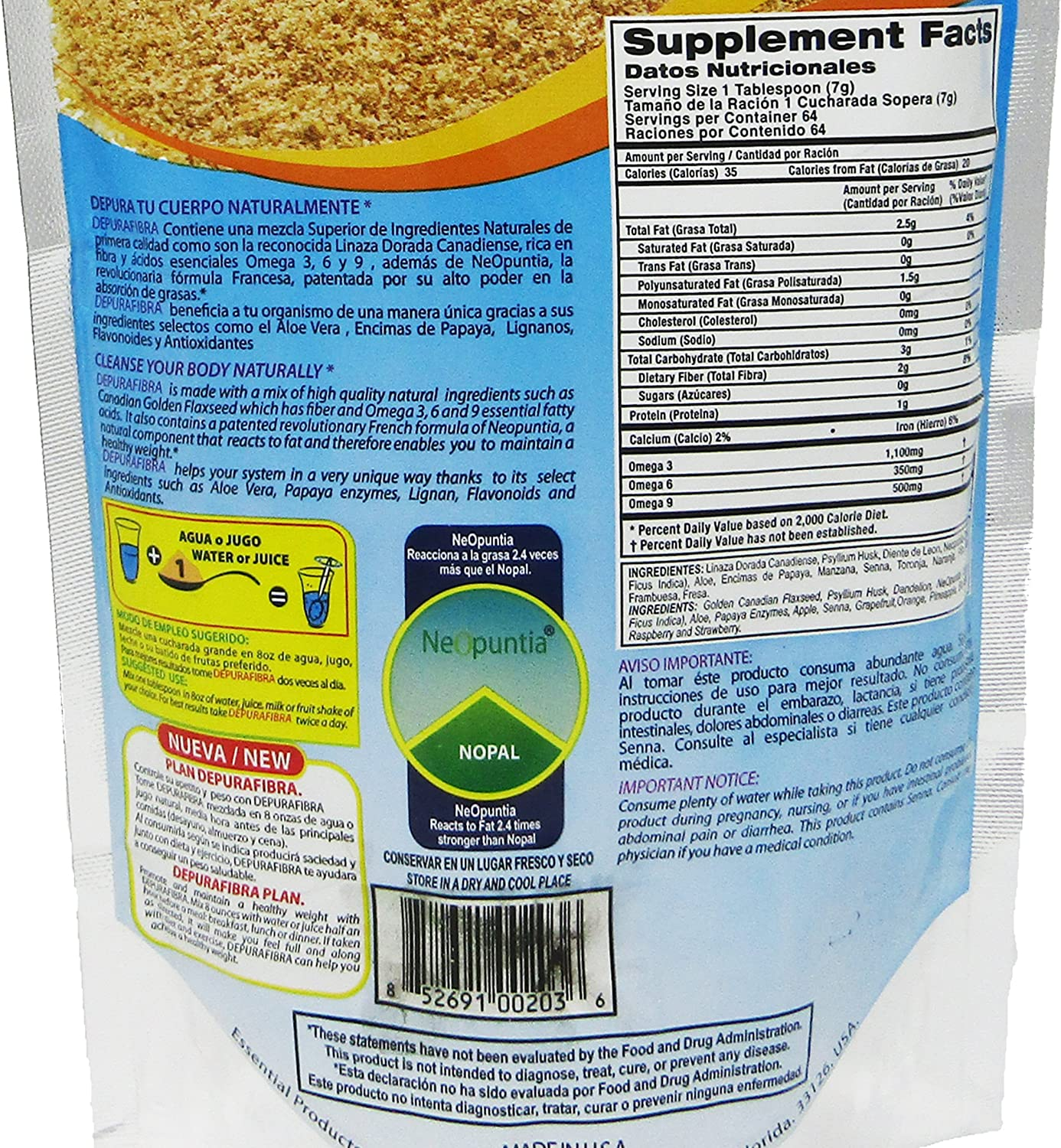 Amazon.com: depurafibra Natural Suplemento dietético 16 oz ...