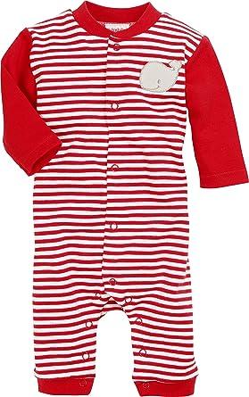 b4daf521c9625 Schnizler Schlafoverall Wal, Rot geringelt, Oeko-Tex Standard 100, Pyjama  Mixte bébé