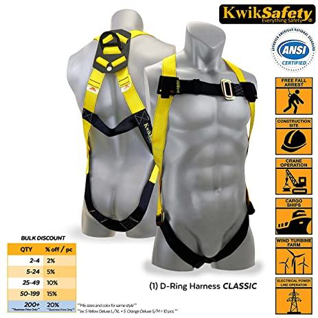KwikSafety 1D Ring Industrial Fall Protection Safety Harness | OSHA  Approved Full Body Personal Protection Equipment