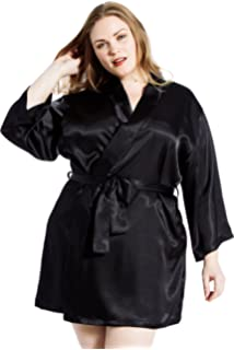 79e6b7e318 Jovannie Women s Satin 3 4 Sleeve Plus Size Kimono Robe With Matching Sash  Short Length