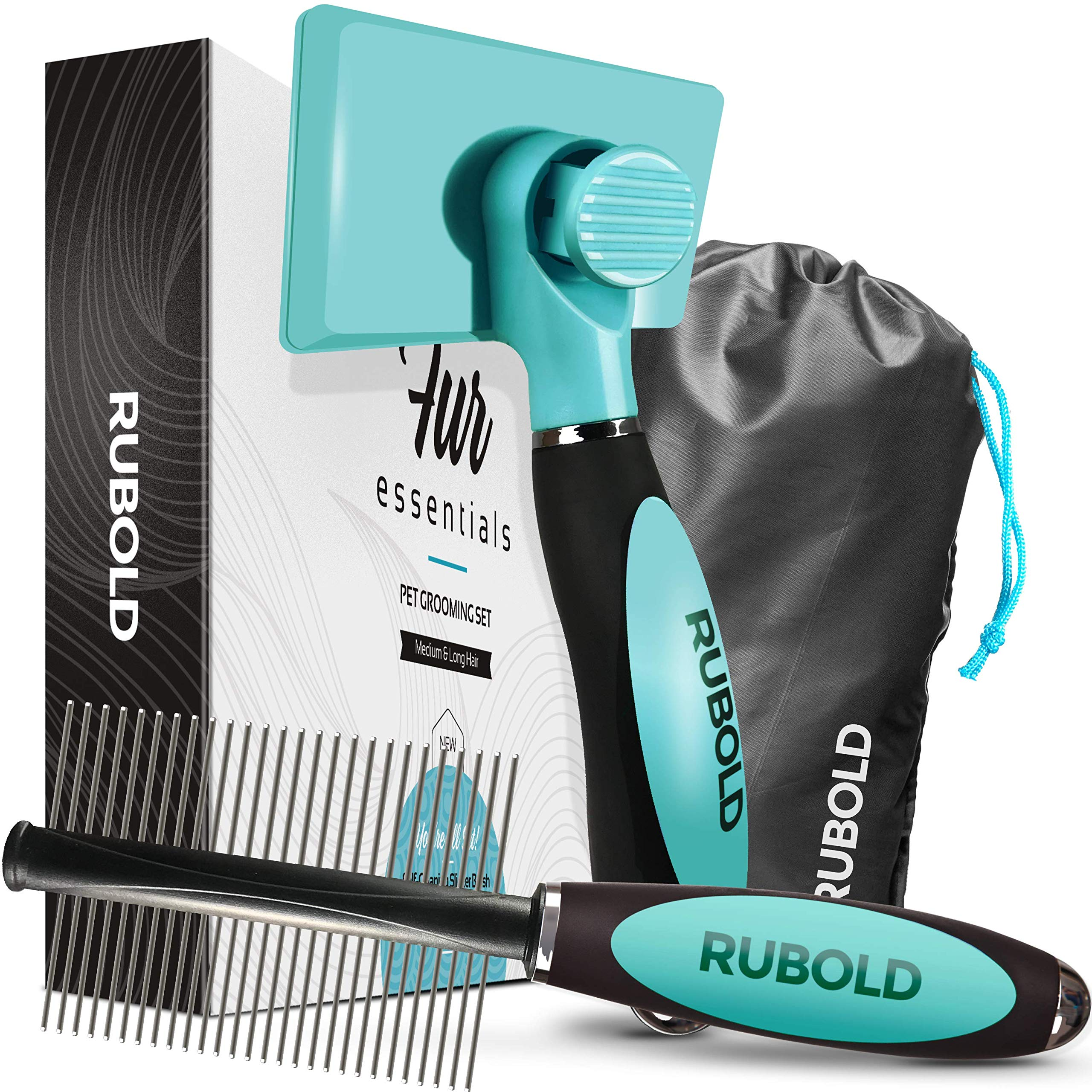 RUBOLD Dog Grooming Kit - Slicker Brush for Dogs with Fur Ejector - Greyhound Dog Comb - with Bonus Carrying Case - The Best Brushes for Shedding - Suitable for Any Medium or Long Hair Pet or Cat