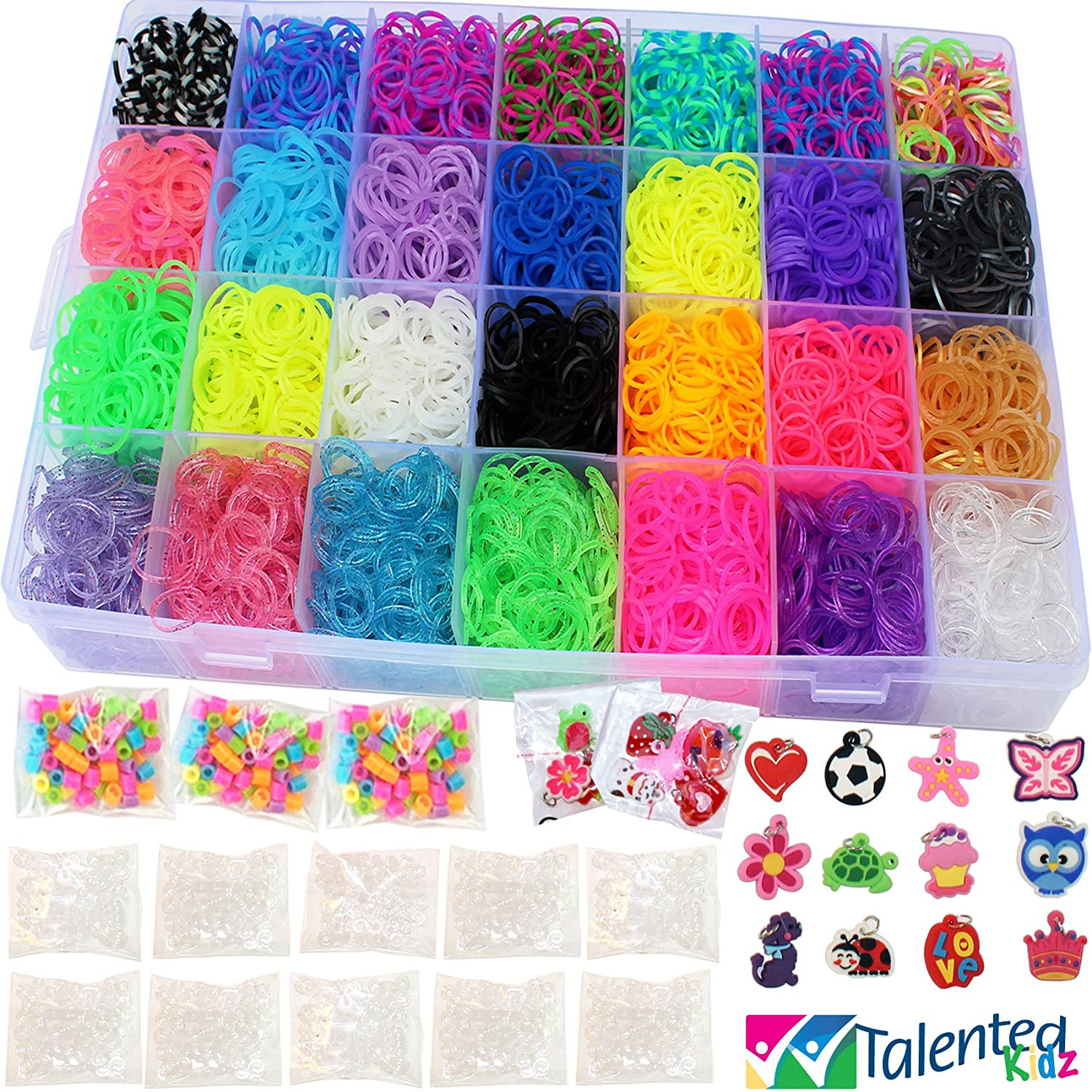9100 Premium Quality Bundle, Talented Kidz Rainbow Rubber Bands Refill Storage Organizer Loom 8500 Bands in 28 Colors 12 Charms 500 Clips & 100 Beads Case With Lid Included This Is The Authentic Mega Box Organizer Loom