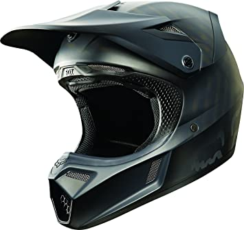 Fox Racing, color negro mate hombre V3 Motocross Motocicleta Casco – mate negro/grande