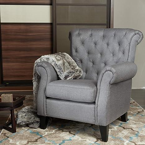 Magnificent Lokates Home Modern Living Room Accent Arm Chair Comfy Single Sofa Club Chair 37 4 W Dark Grey Machost Co Dining Chair Design Ideas Machostcouk