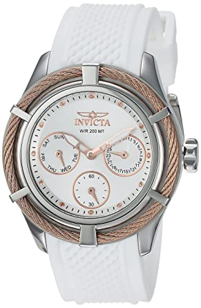 Invicta Womens Bolt Quartz Stainless Steel and Silicone Casual Watch, Color:White