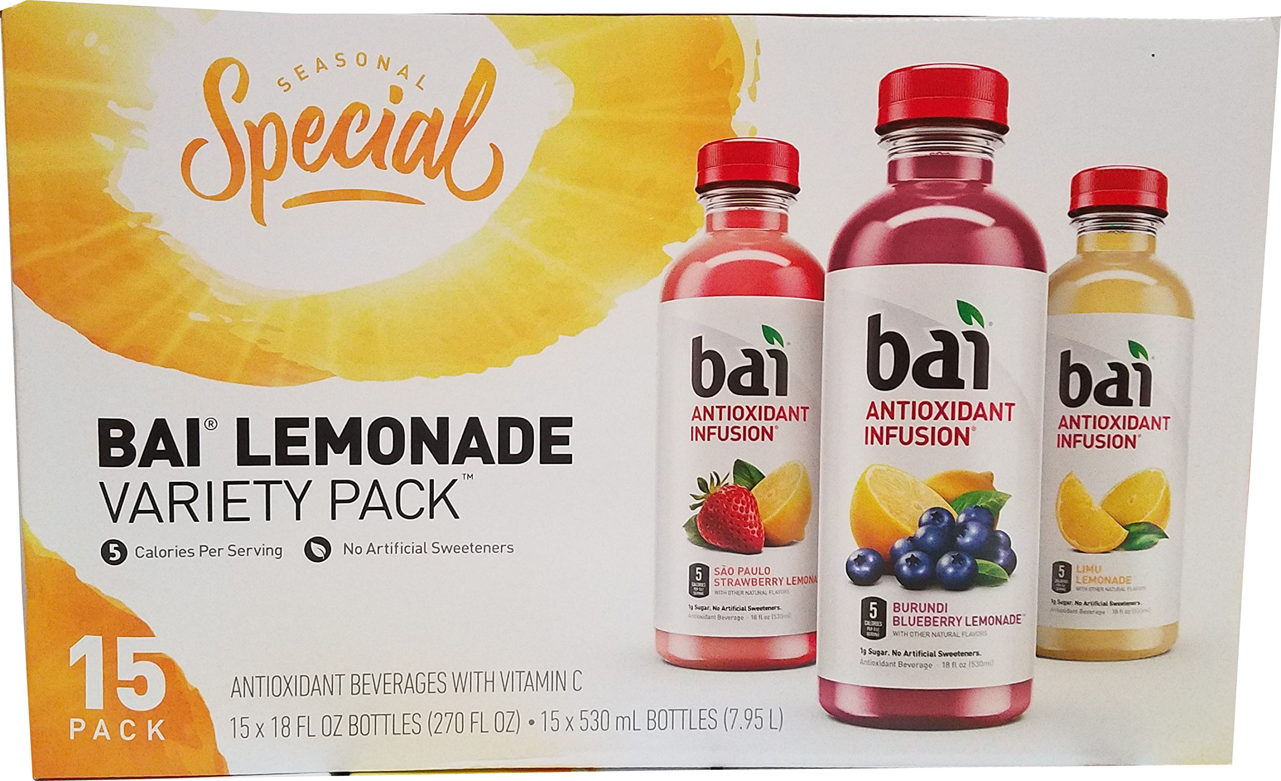 Bai Infusion Lemonade Variety (15 x 18 Fl OZ), 270 Fluid Ounce by bai