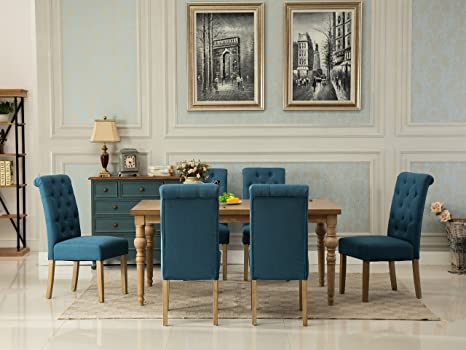 Brilliant Roundhill Furniture Collection Habitanian Solid Wood Dining Table With 6 Button Tufted Chairs Blue Alphanode Cool Chair Designs And Ideas Alphanodeonline