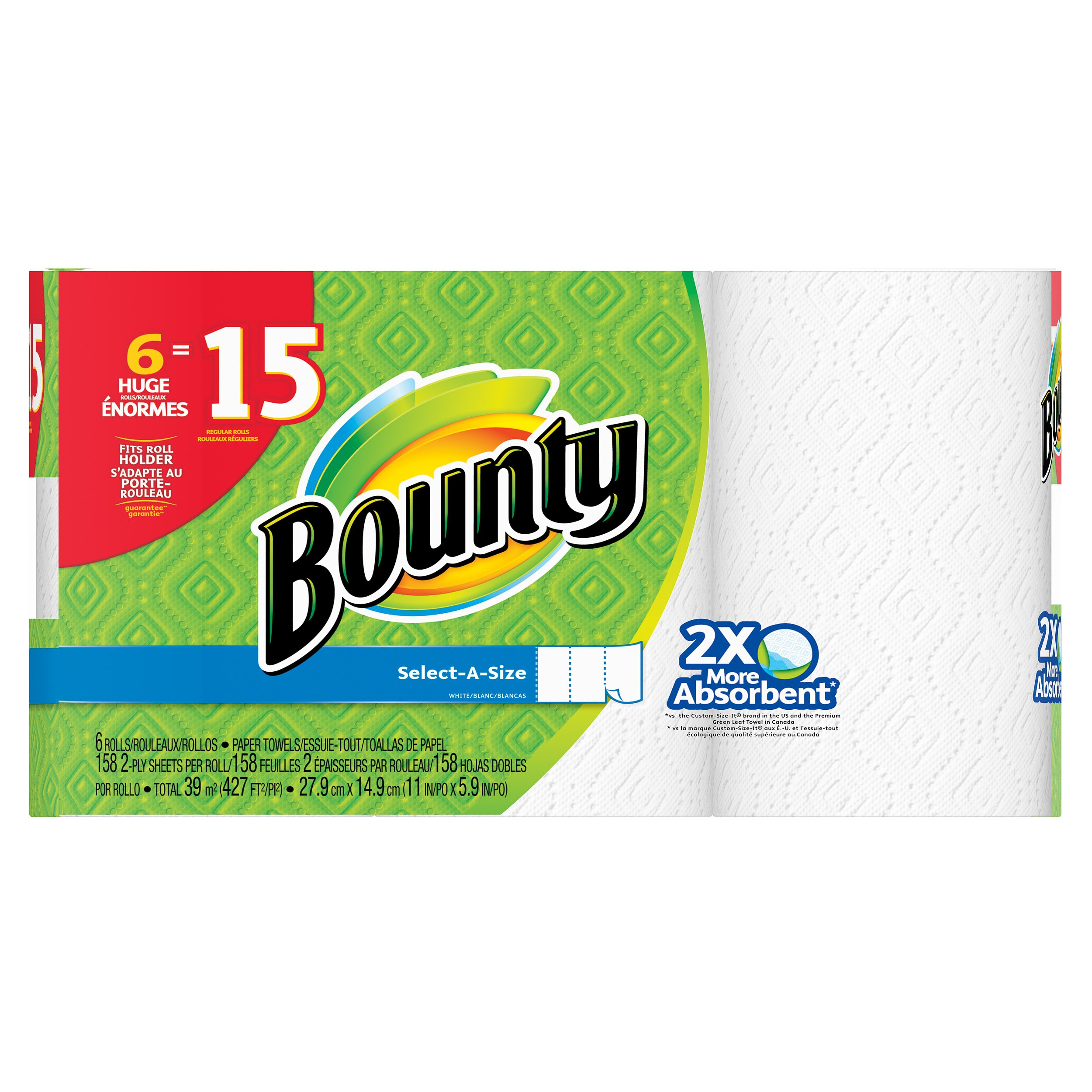 Bounty Paper Towels, Select-a-size, Huge Rolls, White, 6 Count