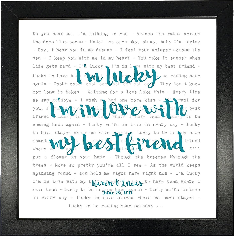 Amazon Com Jason Mraz Lucky Typography Song Lyrics Print Framed Personalised Posters Prints