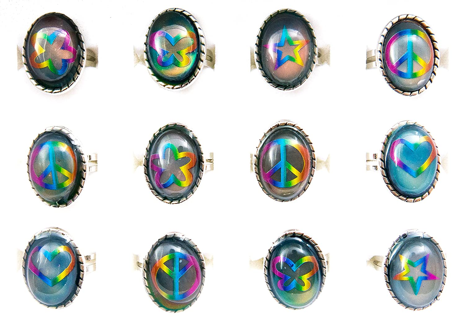 Mood Rings for Women, Girls, Teens, Tweens   12 pieces Color Changing Assorted Motifs Oval Tie-Dye Mood Ring Tray   Great Party Favors Fashion Jewelry by Frogsac USA