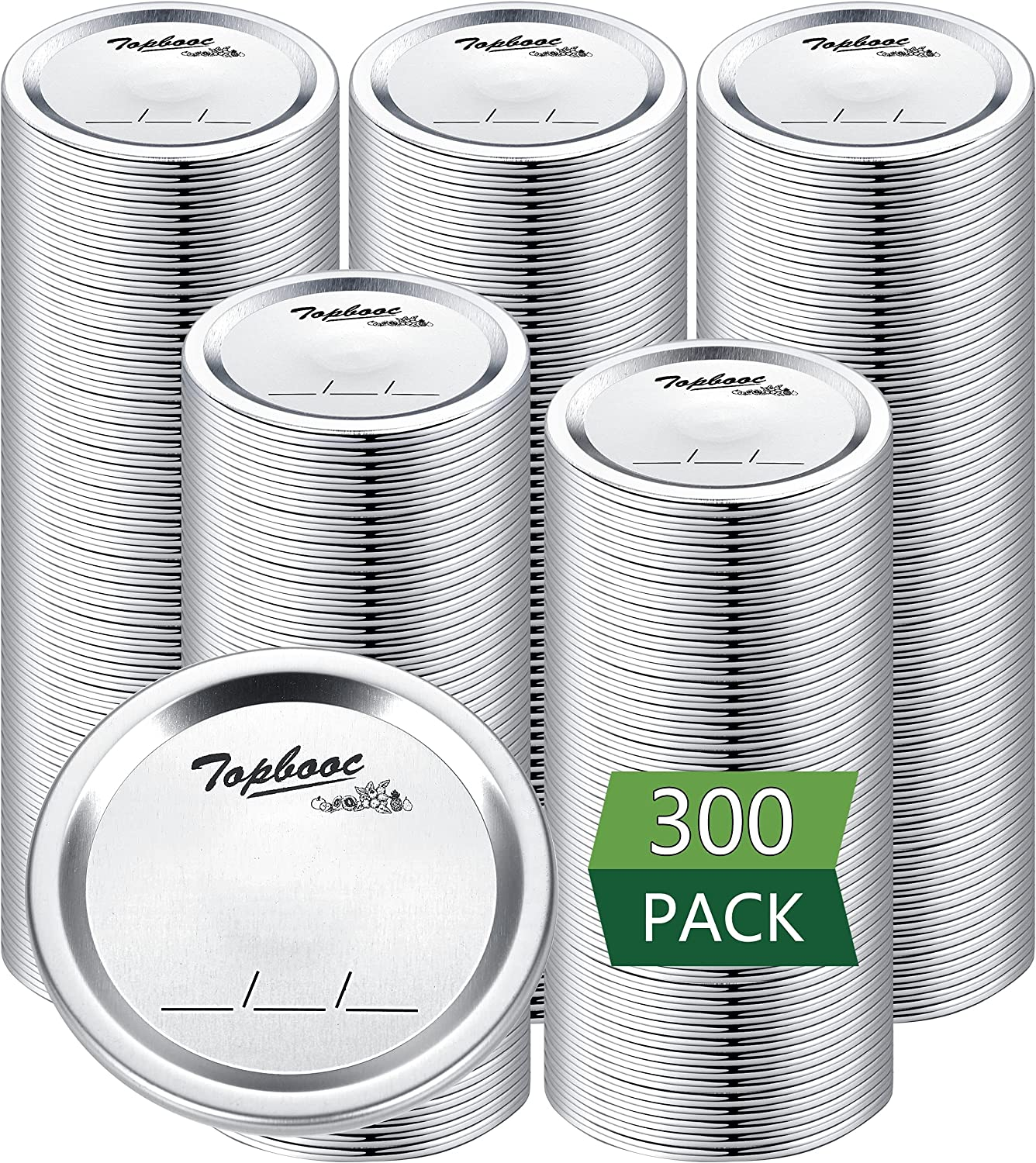 300-Count,Regular Mouth Canning Lids for Ball, Kerr Jars - Split-Type Metal Mason Jar Lids for Canning - Food Grade Material, 100% Fit & Airtight for Regular Mouth Jars